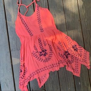 Free People Dress Vibrant Salmon Color